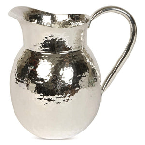 Medium size silver hammered effect metal jug