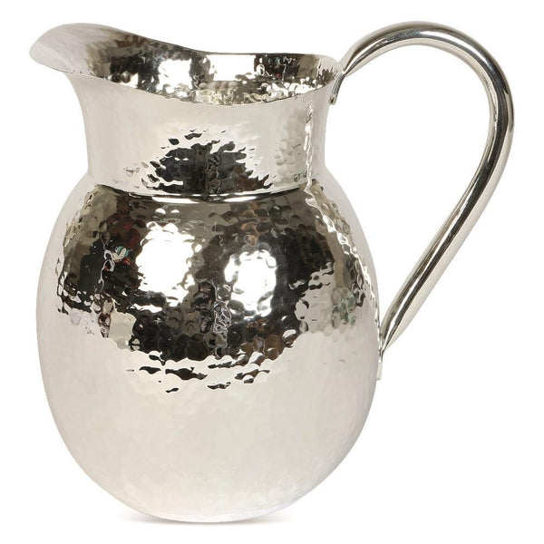 Medium size silver hammered effect metal jug side view