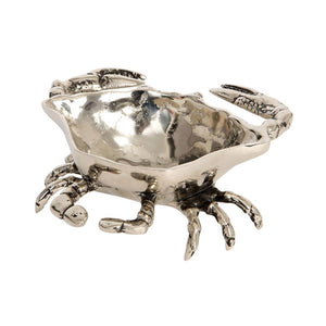 Nickel crab bowl side view on white background