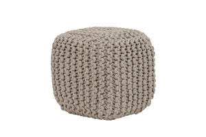 Light & Living Chunky Knitted Pouffe In Light Grey