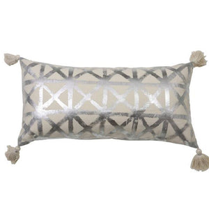 Silver cushion with tassels