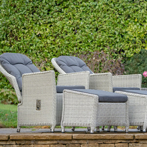 2019 Bramblecrest Monterey Outdoor Reclining Chair Set With Ceramic Top Side Table in front of large hedge with chairs leaning back