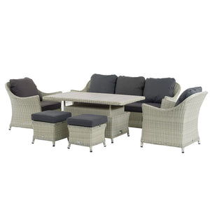 2019 Bramblecrest Monterey 3 Seat Outdoor Sofa Set With Adjustable Ceramic Dining Table on white background