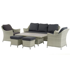 2019 Bramblecrest Monterey 3 Seat Outdoor Sofa Set With Adjustable Ceramic Dining Table