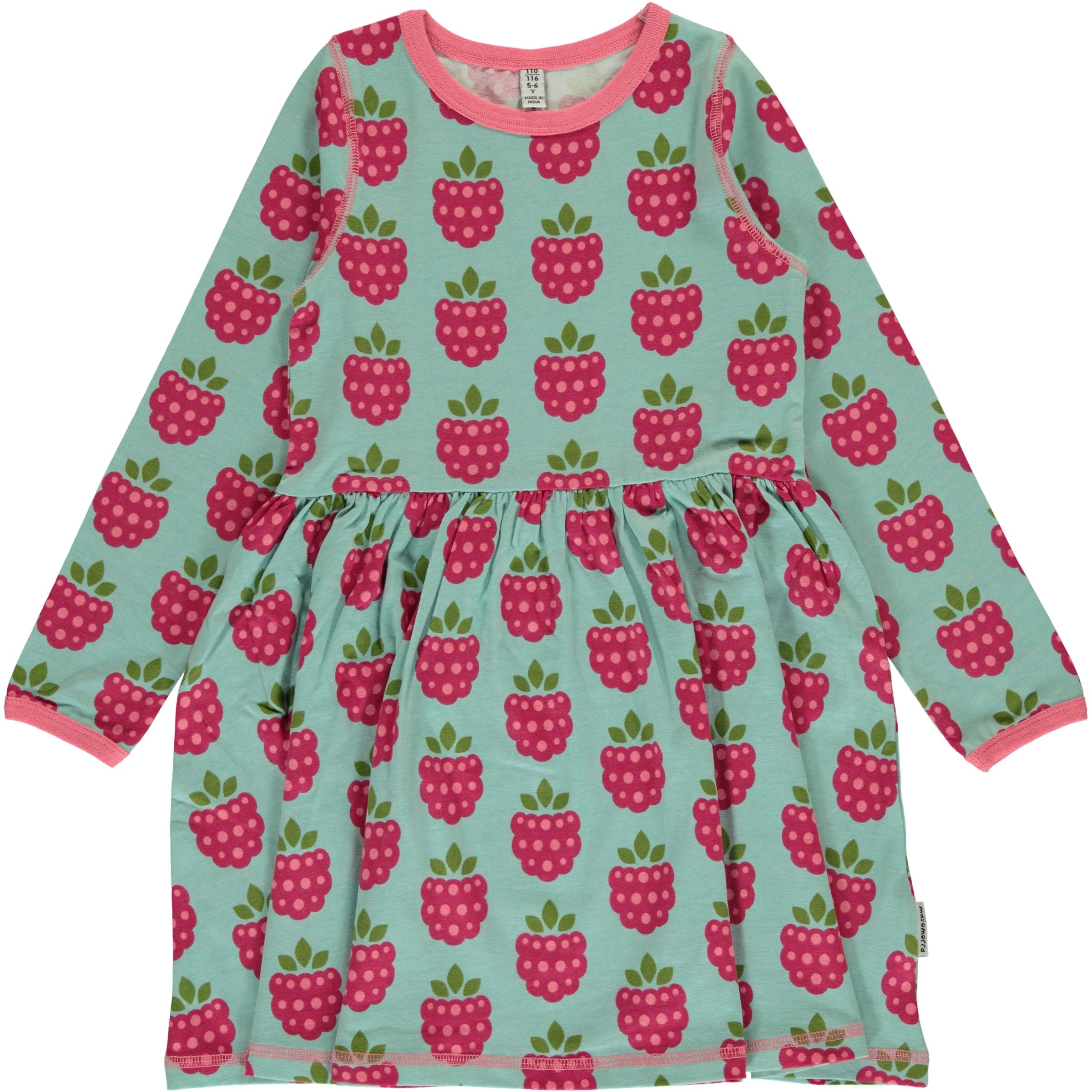 Maxomorra Dress Spin LS Raspberry - little-tiger-togs