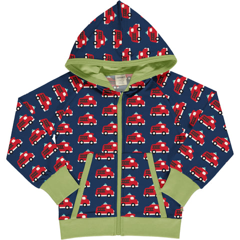 Maxomorra Cardigan Hood Sweat Fire Truck
