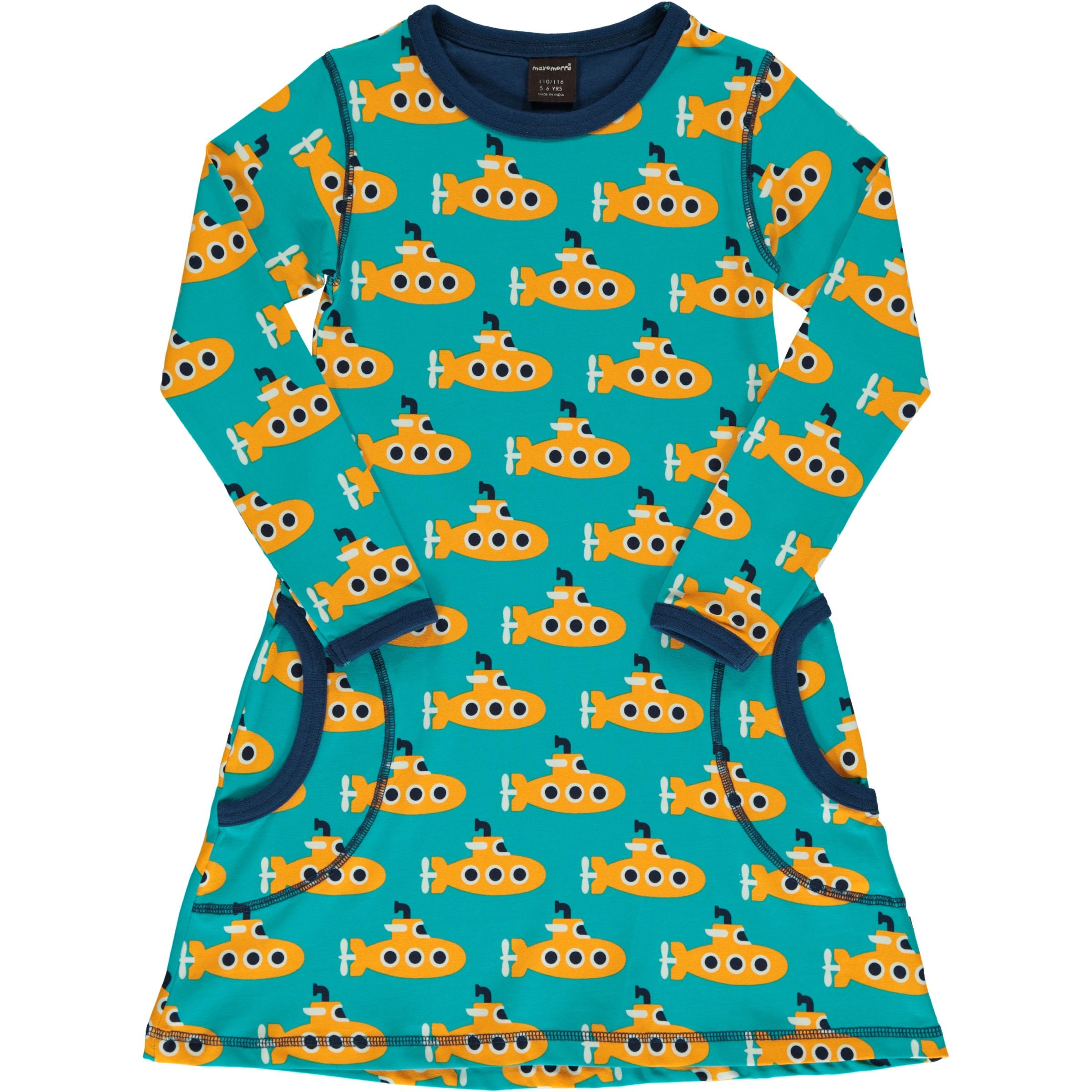 Maxomorra Dress LS Classic Submarine,little-tiger-togs.