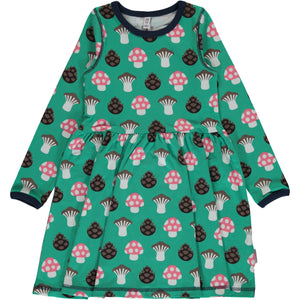 Maxomorra Dress Spin LS Mushroom - little-tiger-togs