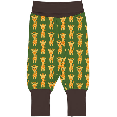 Maxomorra Pants Rib Giraffe,little-tiger-togs.