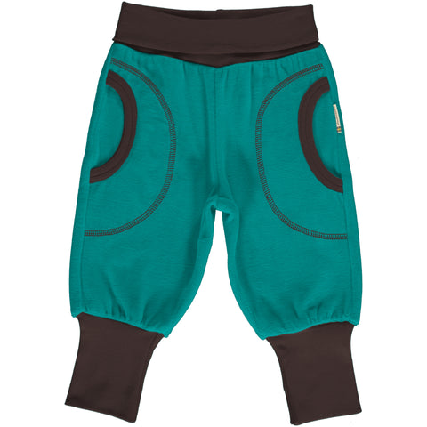 Maxomorra Pants Rib Velour Lagoon