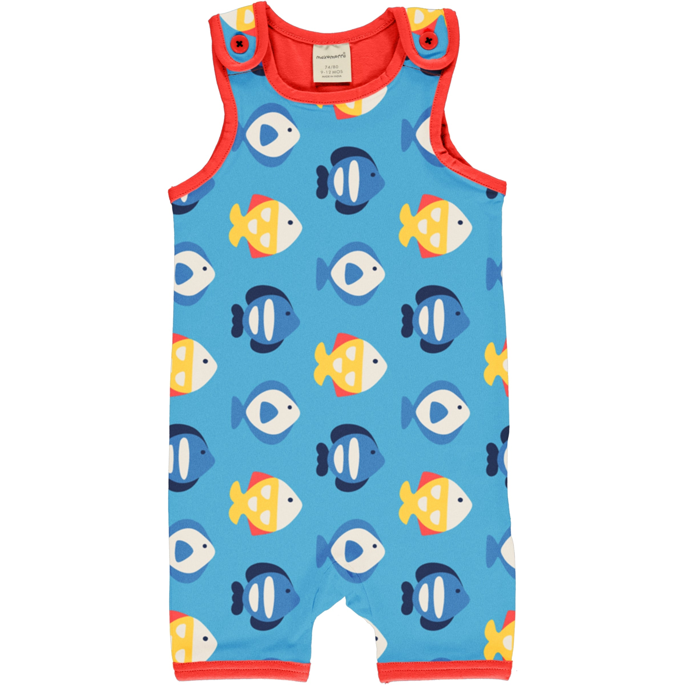 Maxomorra Playsuit Short Tropical Aquarium,little-tiger-togs.