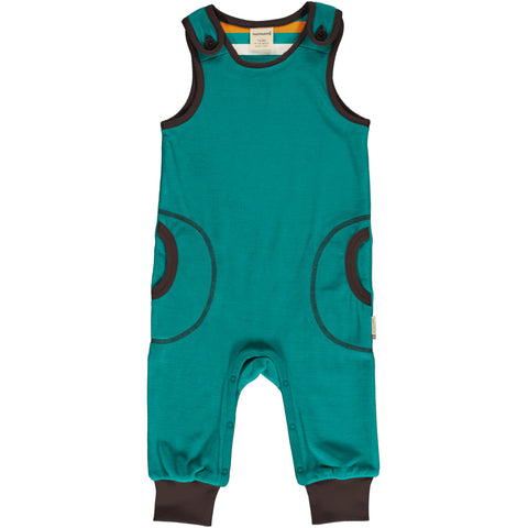 Maxomorra Playsuit Velour Lagoon