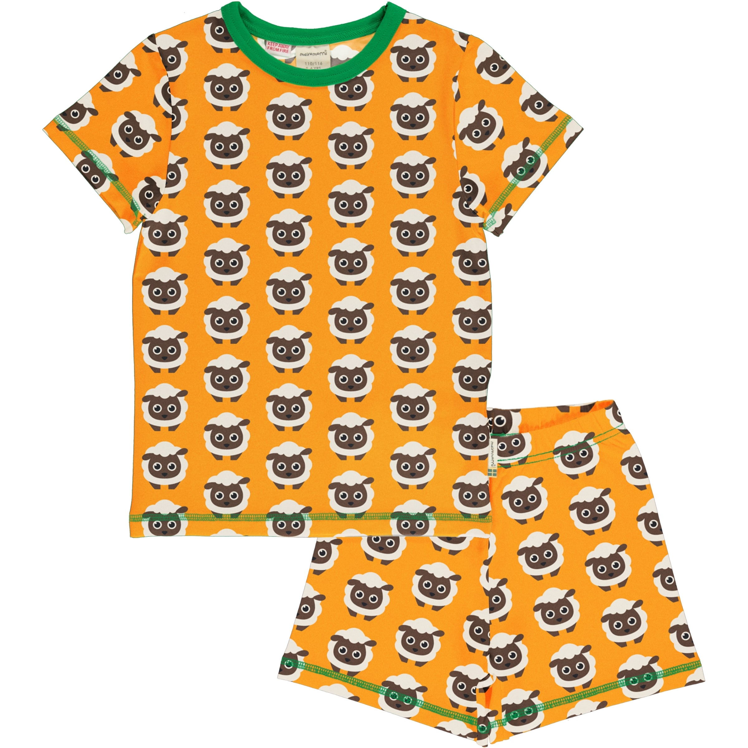 Maxomorra Pyjama Set SS Classic Sheep,little-tiger-togs.