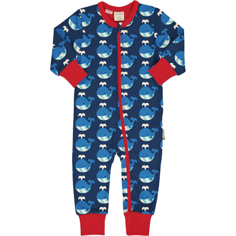 Maxomorra Rompersuit LS Whale,little-tiger-togs.