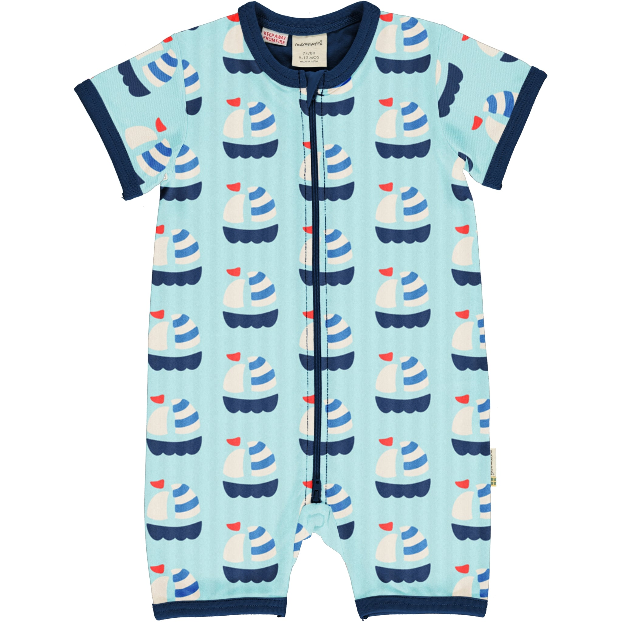 Maxomorra Rompersuit SS Sailboat,little-tiger-togs.