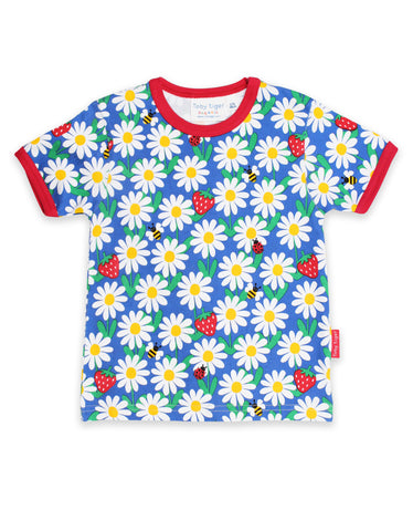 Toby Tiger T-Shirt Blue Daisy,little-tiger-togs.