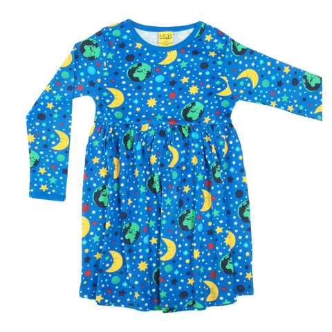 DUNS Sweden Dress Twirly LS Mother Earth Blue,little-tiger-togs.