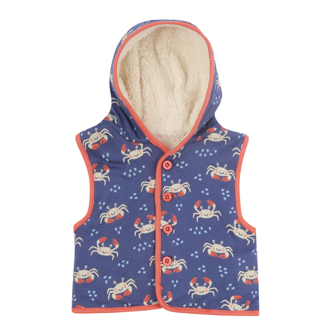 Piccalilly Gilet Ocean Crab,little-tiger-togs.