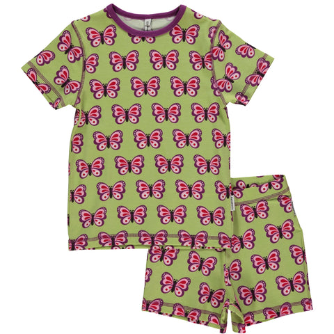 Maxomorra Pyjama Set SS Butterfly (74) - little-tiger-togs