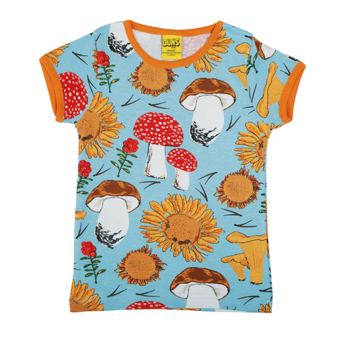 DUNS Sweden Top SS Sunflowers & Mushrooms Sky Blue