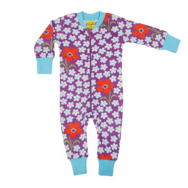 DUNS Sweden Zip Suit Flower Amethyst,little-tiger-togs.