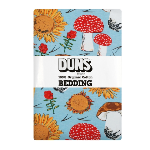 DUNS Sweden Bedding Sunflowers & Mushrooms Sky Blue