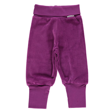 Maxomorra Pants Rib Velour Purple,little-tiger-togs.