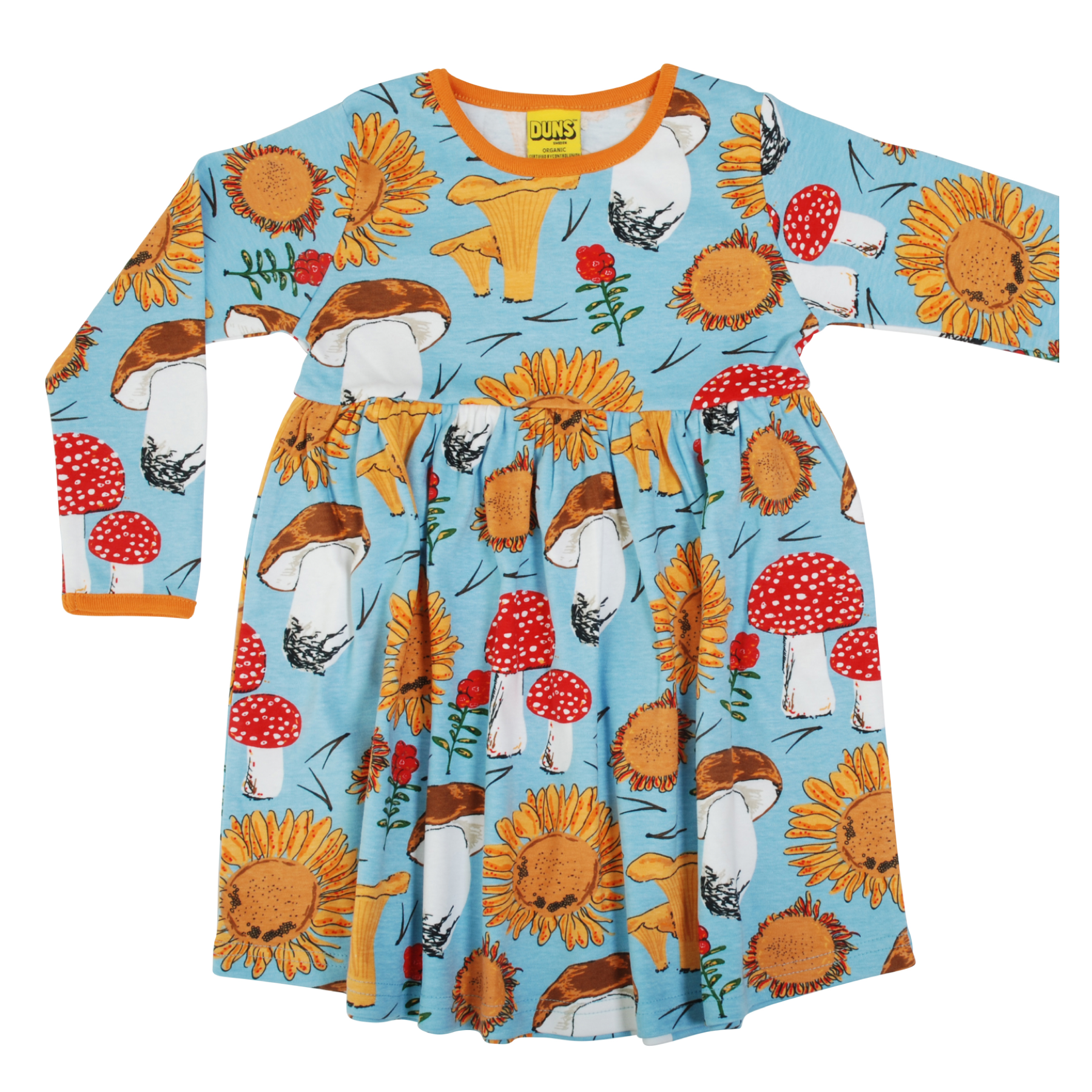DUNS Sweden Dress Twirly LS Sunflowers & Mushrooms Sky Blue,little-tiger-togs.