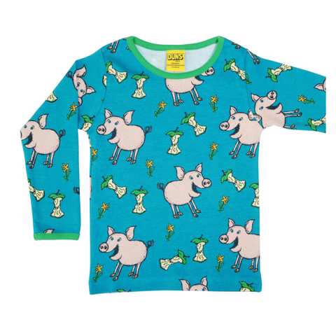DUNS Sweden Top LS Pig Teal,little-tiger-togs.