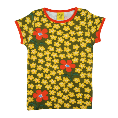 DUNS Sweden Top SS Flower Olive