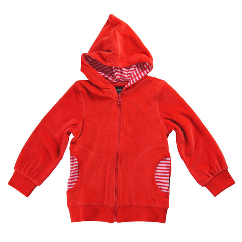 Maxomorra Cardigan Hood Velour Red (74/80) - little-tiger-togs