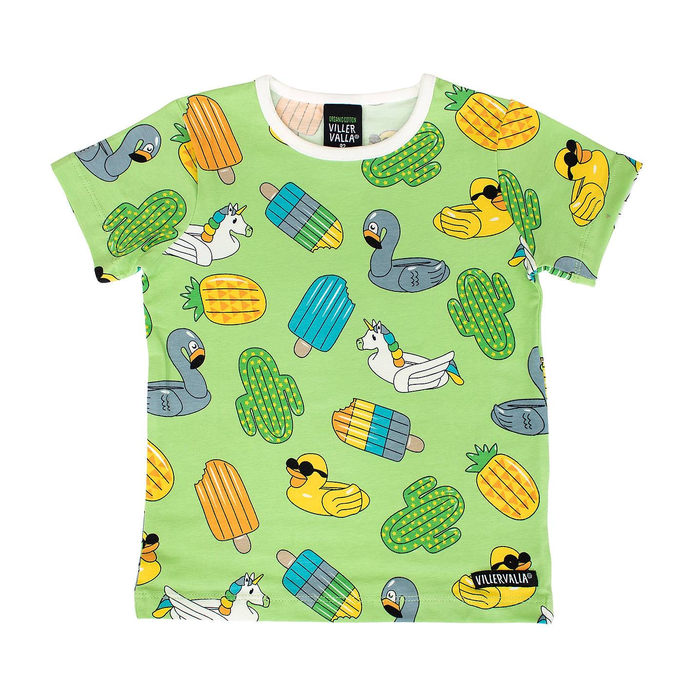 Villervalla T-Shirt SS Swimming Animals Pea