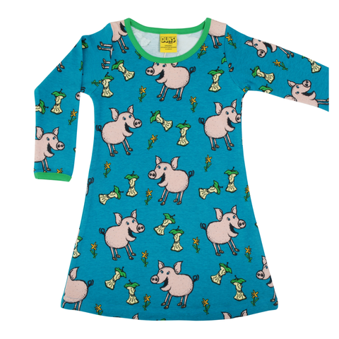 DUNS Sweden Dress LS Pig Teal,little-tiger-togs.