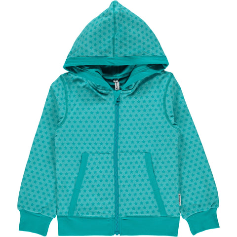 Maxomorra Cardigan Hood Mono Star Turquoise - little-tiger-togs