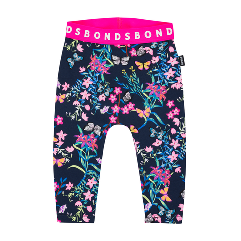 Bonds Stretchies Leggings Blossoming Butterflies Navy,little-tiger-togs.