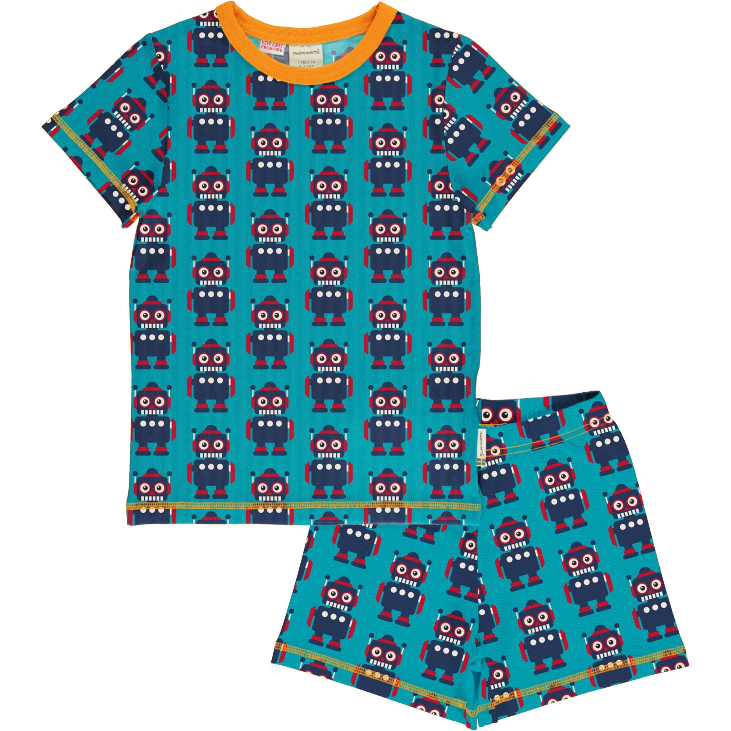 Maxomorra Pyjama Set SS Classic Robot,little-tiger-togs.