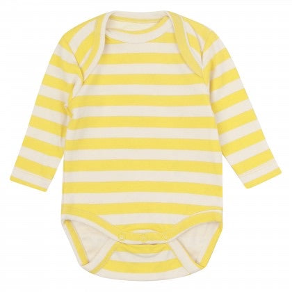 Piccalilly Bodysuit LS Mustard Stripe,little-tiger-togs.