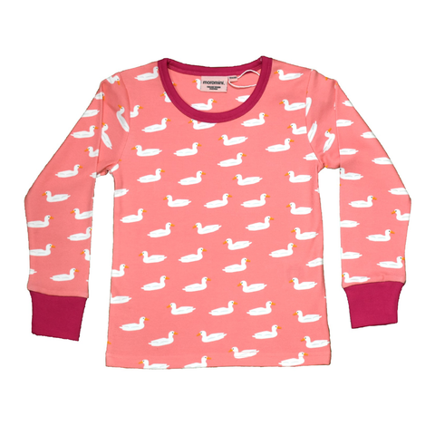 Moromini T-Shirt LS Duck Pond Pink,little-tiger-togs.