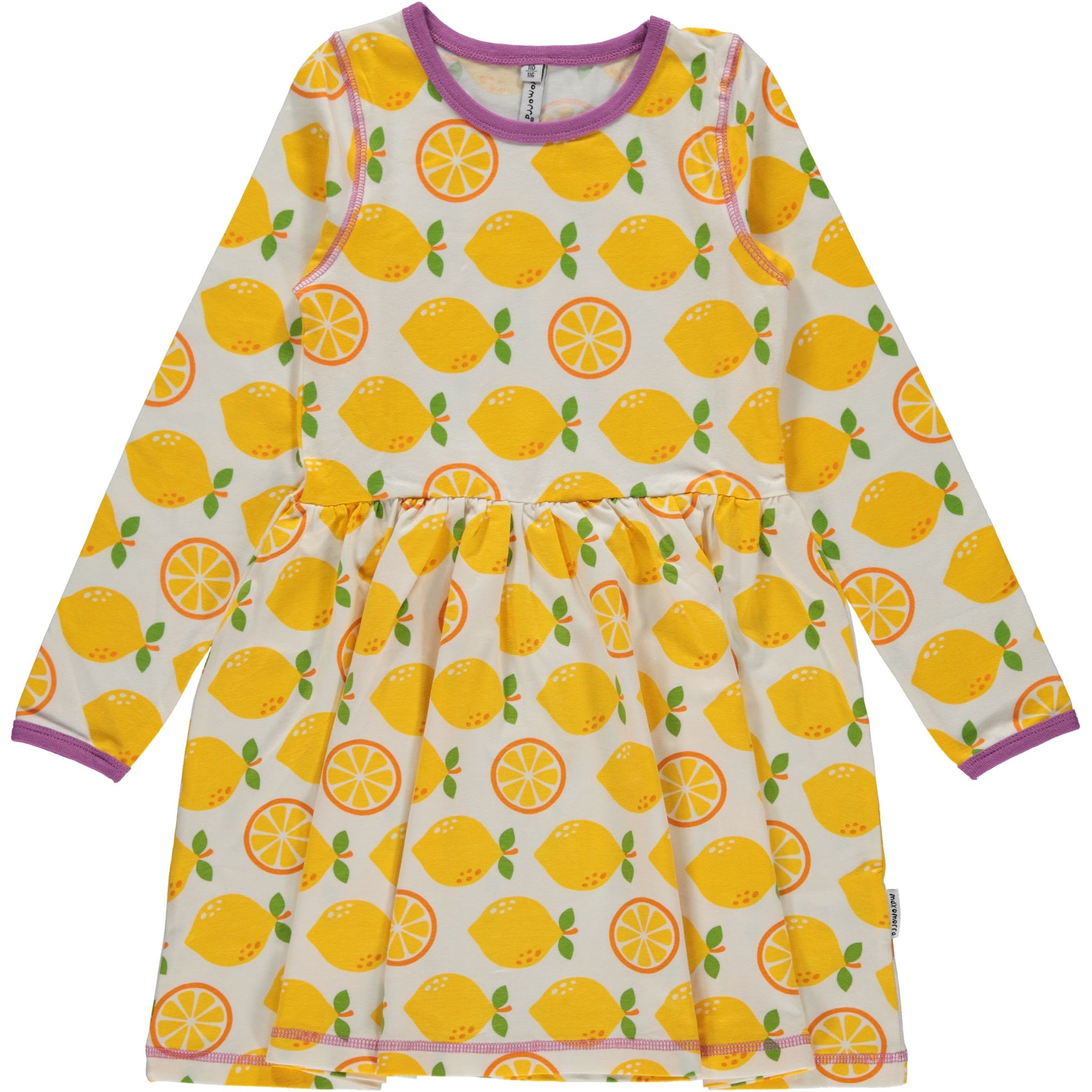 Maxomorra Dress Spin LS Lemon - little-tiger-togs