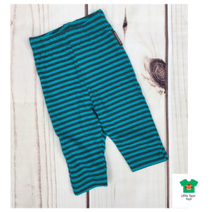 Maxomorra Leggings Cropped Stripe Truquoise/Petrol - little-tiger-togs