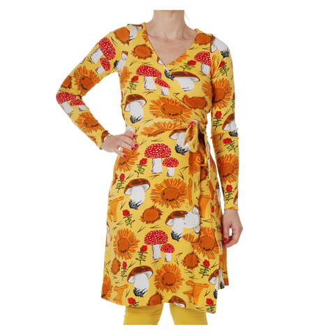 DUNS Sweden Dress Wrap LS Sunflowers & Mushrooms Sunshine Yellow (Adult)