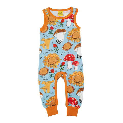 DUNS Sweden Dungarees Sunflowers & Mushrooms Sky Blue,little-tiger-togs.