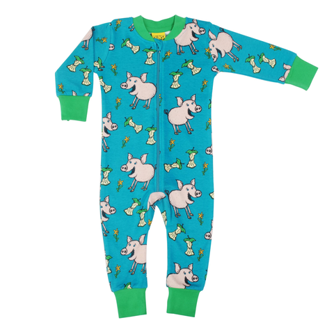 DUNS Sweden Zip Suit Pig Teal,little-tiger-togs.