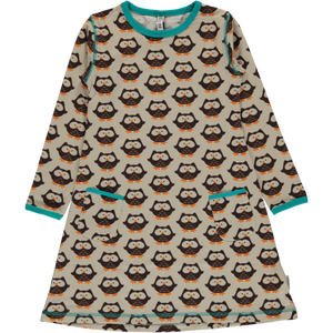 Maxomorra Dress LS Owl - little-tiger-togs