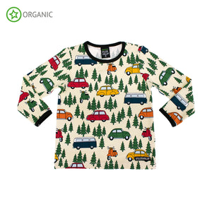 Villervalla T-Shirt LS Forest Car Oat