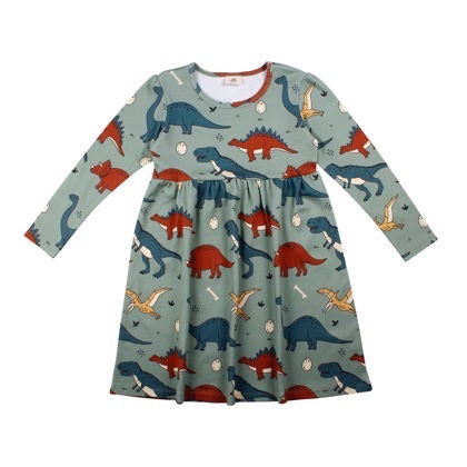 Walkiddy Dress Twirly Funny Dinosaur,little-tiger-togs.