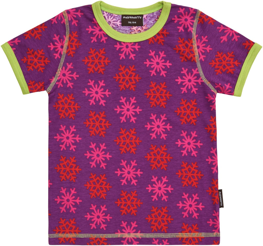 Maxomorra Top SS Snowflakes (62/68, 74/80) - little-tiger-togs