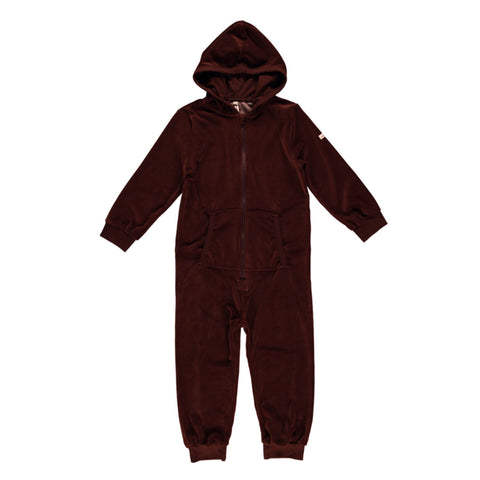 Maxomorra Hooded One Piece Velour Brown - little-tiger-togs