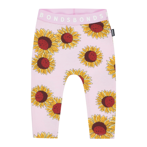 Bonds Stretchies Leggings Sunflower Power Pink