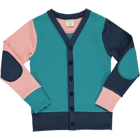 Maxomorra Cardigan V Sweat Block Multi Snow